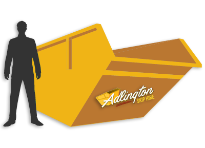 Adlington Skip Hire Logo on Yellow Skip